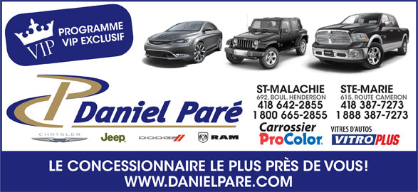 Daniel Paré Dodge Chrysler Inc (418-642-2855) - Annonce illustrée======= -
