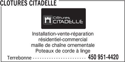 Ads cl tures citadelle - Corde a linge installation ...