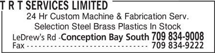T R T Services Limited (709-834-9008) - Display Ad -