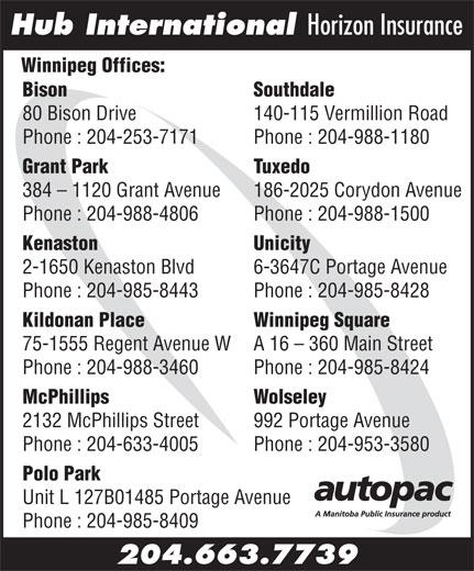 Hub International Horizon Insurance (204-663-7739) - Display Ad - Hub International Horizon Insurance Winnipeg Offices: Bison                                                                                  Southdale 80 Bison Drive 140-115 Vermillion Road Phone : 204-253-7171 Phone : 204-988-1180 Grant Park Tuxedo 384 - 1120 Grant Avenue 186-2025 Corydon Avenue Phone : 204-988-4806 Phone : 204-988-1500 Kenaston Unicity 2-1650 Kenaston Blvd 6-3647C Portage Avenue Phone : 204-985-8443 Phone : 204-985-8428 Kildonan Place Winnipeg Square 75-1555 Regent Avenue W A 16 - 360 Main Street Phone : 204-988-3460 Phone : 204-985-8424 McPhillips Wolseley 2132 McPhillips Street 992 Portage Avenue Phone : 204-633-4005 Phone : 204-953-3580 Polo Park Unit L 127B01485 Portage Avenue Phone : 204-985-8409 204.663.7739