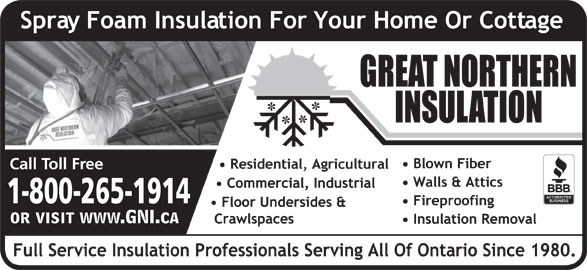 Great Northern Insulation (1-855-412-2603) - Display Ad - 1-800-265-1914 1-800-265-1914