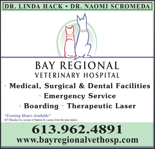 Bay Regional Veterinary Hospital (613-962-4891) - Display Ad - BAY REGIONALBAY REGIONAL VETERINARY HOSPITALVETERINARY HOSPITAL Medical, Surgical & Dental Facilities Medical, Surgical & Dental Facilities Emergency Service  Emergency Service Boarding   Therapeutic Laser Boarding  Therapeutic Laser *Evening Hours Available**Evening Hours Available* 437 Bleecker Av. (corner of Station St.) across from the train station437 Bleecker Av. (corner of Station St.) across from the train station 613.962.4891 www.bayregionalvethosp.comwww.bayregionalvethosp.com DR. LINDA HACK   DR. NAOMI SCROMEDA