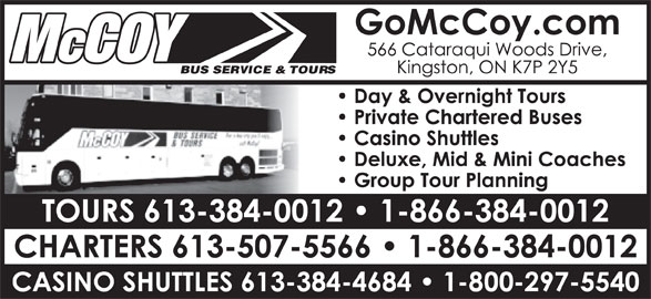 McCoy Bus Service & Tours (613-384-0012) - Display Ad -