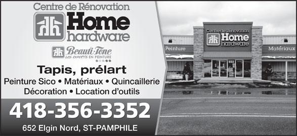 Centre de rénovation Maurice Jalbert - Home Hardware (418-356-3352) - Annonce illustrée======= - Peinture Sico   Matériaux   Quincaillerie Décoration   Location d outils 418-356-3352 652 Elgin Nord, ST-PAMPHILE Tapis, prélart Peinture Sico   Matériaux   Quincaillerie Décoration   Location d outils 418-356-3352 652 Elgin Nord, ST-PAMPHILE Tapis, prélart