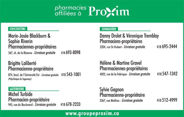 Pharmacie Blackburn Et Riverin (418-693-8098) - Annonce illustrée======= -