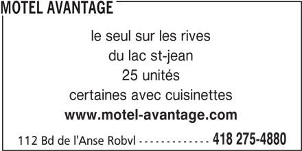 Motel Avantage (418-275-4880) - Annonce illustrée======= -