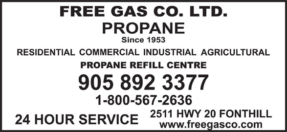 Free Gas Co Ltd (905-892-3377) - Display Ad -
