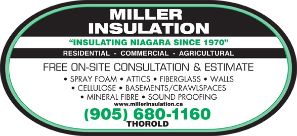 Miller Insulation (905-680-1160) - Display Ad - SPRAY FOAM   ATTICS   FIBERGLASS   WALLS CELLULOSE   BASEMENTS/CRAWLSPACES MINERAL FIBRE   SOUND PROOFING www.millerinsulation.ca 905 680-1160 THOROLD INSULATING NIAGARA SINCE 1970 RESIDENTIAL  -  COMMERCIAL  -  AGRICULTURAL FREE ON-SITE CONSULTATION & ESTIMATE