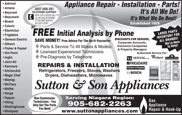 Sutton Amp Sons Appliances 154 Gage Ave N Hamilton On