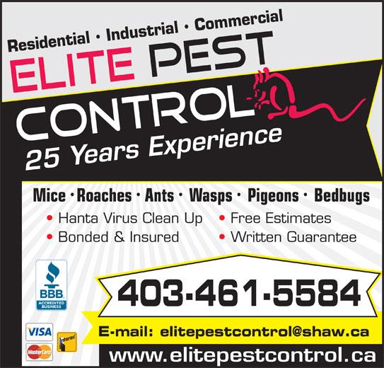 Elite Pest Control Ltd (403-461-5584) - Annonce illustrée======= -