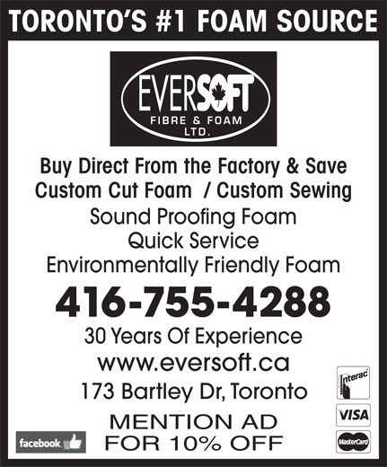 Eversoft Fibre Amp Foam Ltd North York On 173 Bartley