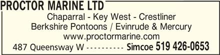 Proctor Marine Ltd (519-426-0653) - Annonce illustrée======= -