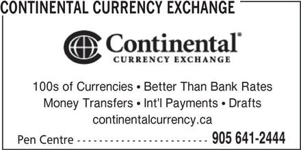 Continental Currency Exchange (905-641-2444) - Annonce illustrée======= -