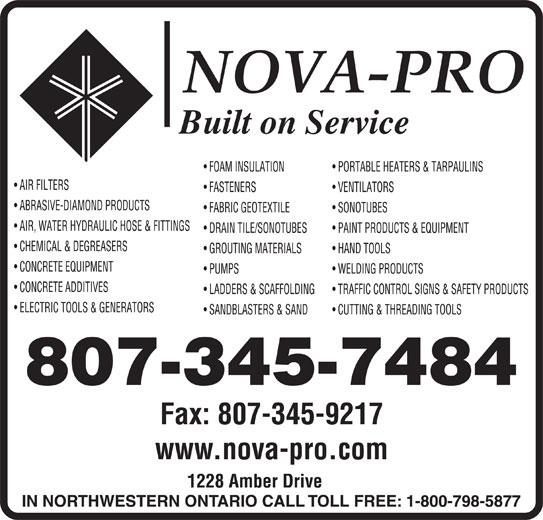Nova-Pro Industrial Supply Ltd (807-345-7484) - Display Ad - 807-345-7484 Fax: 807-345-9217 www.nova-pro.com