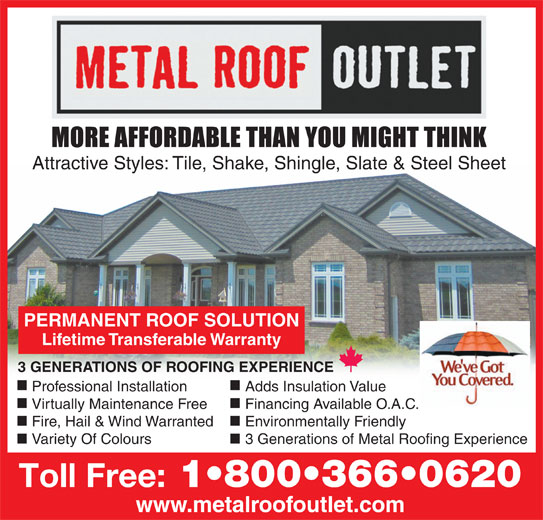 Metal Roof Outlet (519-688-2512) - Annonce illustrée======= -