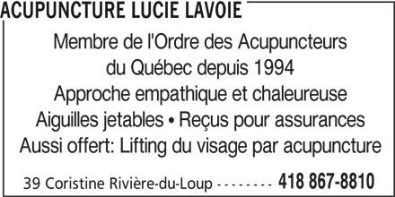 Acupuncture Lucie Lavoie (418-867-8810) - Annonce illustrée======= -