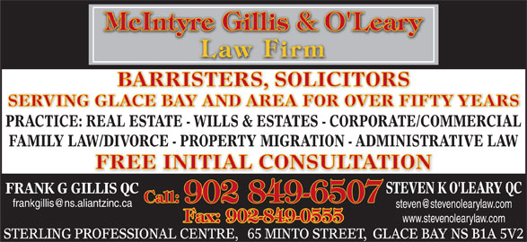 McIntyre Gillis & O'Leary (902-849-6507) - Display Ad -