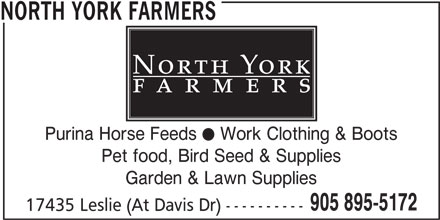North York Farmers (905-895-5172) - Annonce illustrée======= -