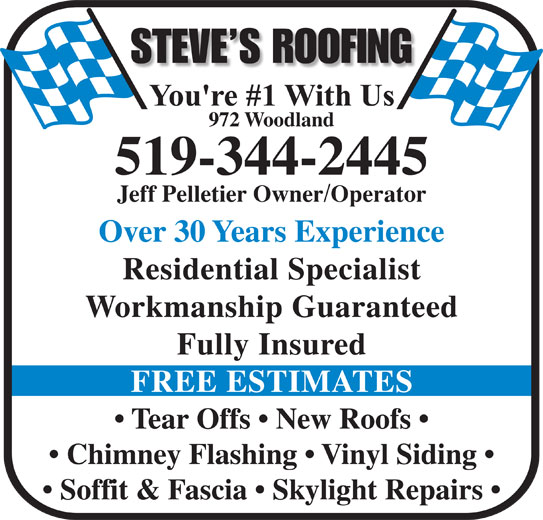 Steve's Roofing - 972 Woodland Ave, Sarnia, ON