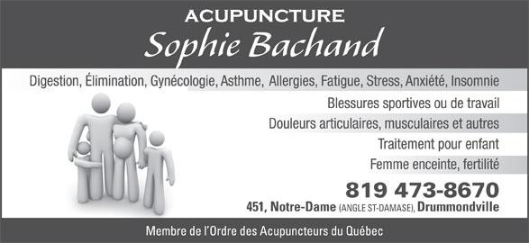 Sophie Bachand Acupuncture (819-473-8670) - Annonce illustrée======= -