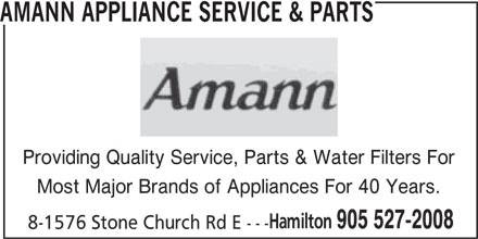 Amann Appliance Service Amp Parts 8 1576 Stone Church Rd E