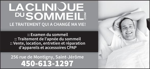 La Clinique du Sommeil des Laurentides (450-436-1006) - Annonce illustrée======= -