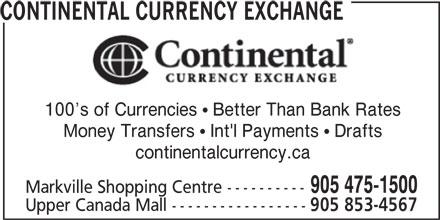 Continental Currency Exchange (905-475-1500) - Annonce illustrée======= -