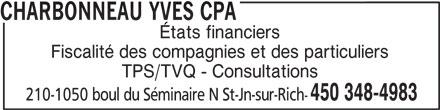 Charbonneau Yves CPA (450-348-4983) - Annonce illustrée======= -