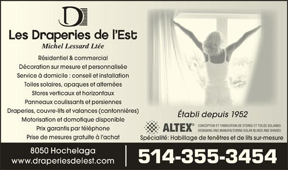 Draperies De L'Est Michel Lessard Ltée (514-355-3454) - Display Ad -