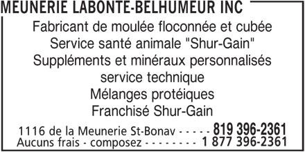 Meunerie Labonté-Belhumeur Inc (819-396-2361) - Annonce illustrée======= -