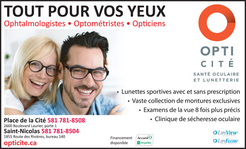 Opticité (418-650-5065) - Annonce illustrée======= -