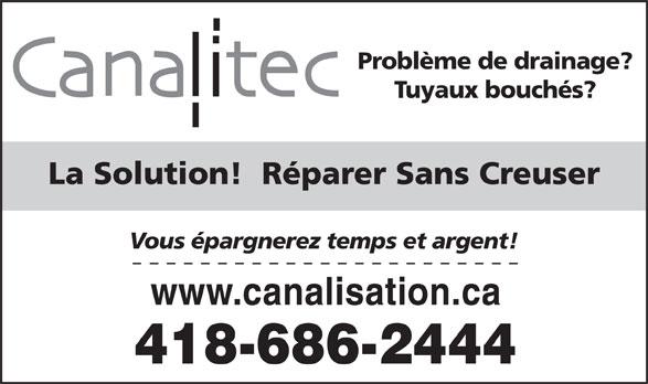 Canalitec (418-686-2444) - Annonce illustrée======= -
