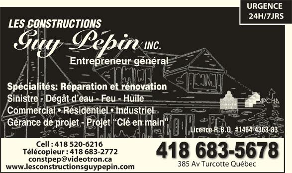 Construction Guy Pépin (418-683-5678) - Annonce illustrée======= -