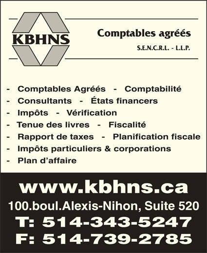 KBHNS Comptables Agréés (514-343-5247) - Annonce illustrée======= -