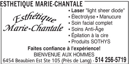 Esthétique Marie-Chantale (514-256-5719) - Display Ad -