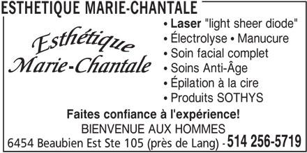 Esthétique Marie-Chantale (514-256-5719) - Annonce illustrée======= -