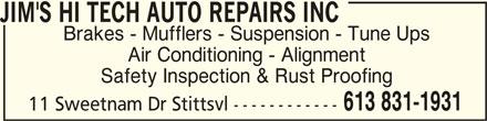 Jim's Hi Tech Auto Repairs Inc (613-831-1931) - Annonce illustrée======= -