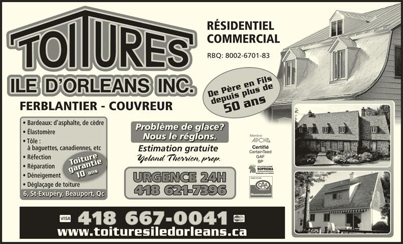 Toitures Ile D'Orléans Inc (418-667-0041) - Annonce illustrée======= -