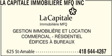 La Capitale Immobilière Mfq Inc (418-644-4267) - Annonce illustrée======= - GESTION IMMOBILIÈRE ET LOCATION COMMERCIAL - RÉSIDENTIEL ÉDIFICES À BUREAUX 625 St-Amable --------------------- 418 644-4267 LA CAPITALE IMMOBILIERE MFQ INC