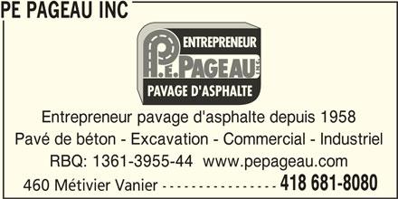 PE Pageau Inc (418-681-8080) - Annonce illustrée======= -