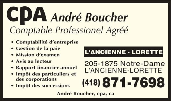 André Boucher, CPA (418-871-7698) - Annonce illustrée======= -
