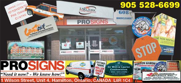 Prosigns Hamilton Inc (905-528-6699) - Display Ad - 905 528-6699