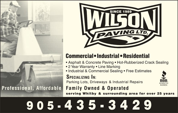 Wilson Paving Ltd (905-435-3429) - Display Ad -