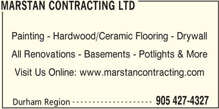 Marstan Contracting Ltd (905-427-4327) - Annonce illustrée======= -