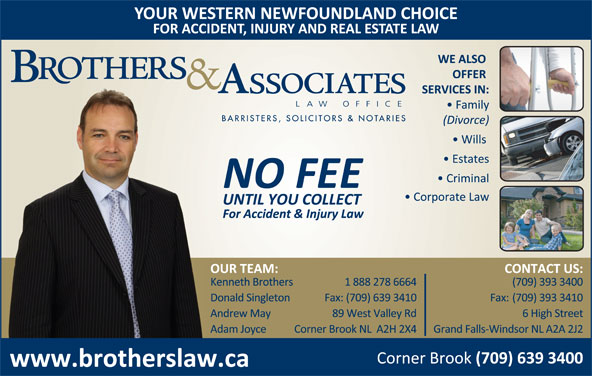 Brothers & Burden Law Offices (709-639-3400) - Display Ad -