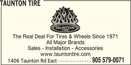 Taunton Tire (905-579-0071) - Display Ad -