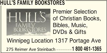 Hull's Family Bookstores (204-947-1365) - Annonce illustrée======= -