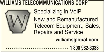 Williams Telecommunications Corp (1-800-982-3333) - Annonce illustrée======= -