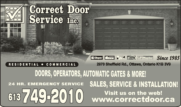 Correct Door Service Inc (613-749-2010) - Display Ad -