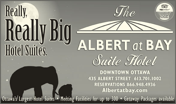 Albert At Bay Suite Hotel (613-238-8858) - Display Ad - RallBig DOWNTOWN OTTAWADOWNTOWN OTTAWA 435 ALBERT STREET  613.701.1002435 ALBERT STREET  613.701.1002 RESERVATIONS 866.948.4936RESERVATIONS 866.948.4936 Albertatbay.comAlbertatbay.com Ottawa s Largest Hotel Suites   Meeting Facilities for up to 300   Getaway Packages availableOttawa s Largest Hotel Suites   Meeting Facilities for up to 300   Getaway Packages available